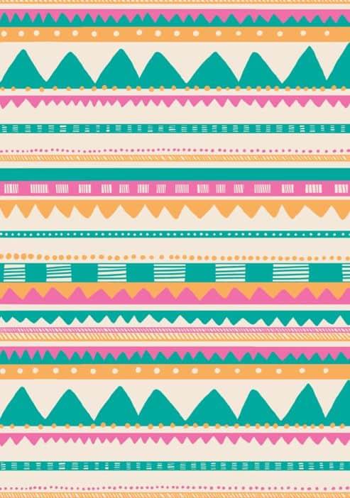 mictlantecuhtli Diseño geométrico con verdes, rosas y amarillos