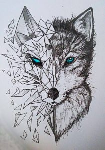 tatuaje geometrico de lobo