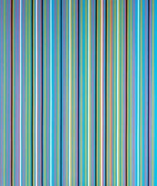 Bridget Riley líneas verticales azules verdes, ocres y rosas