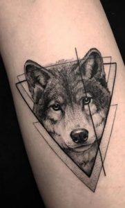 Lobo realista con triangulos