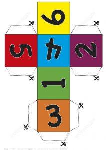 figura para armar cubo colores y numeros