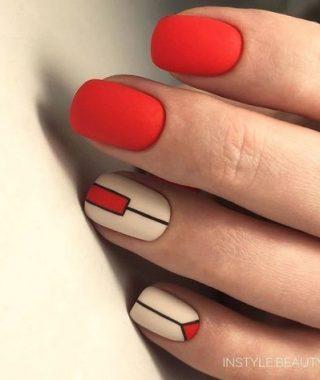 decoracion de unas rojo y blanco de linea futurista