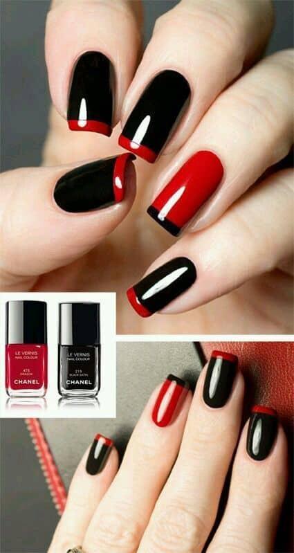 disenos de unas Colores rojo y negro